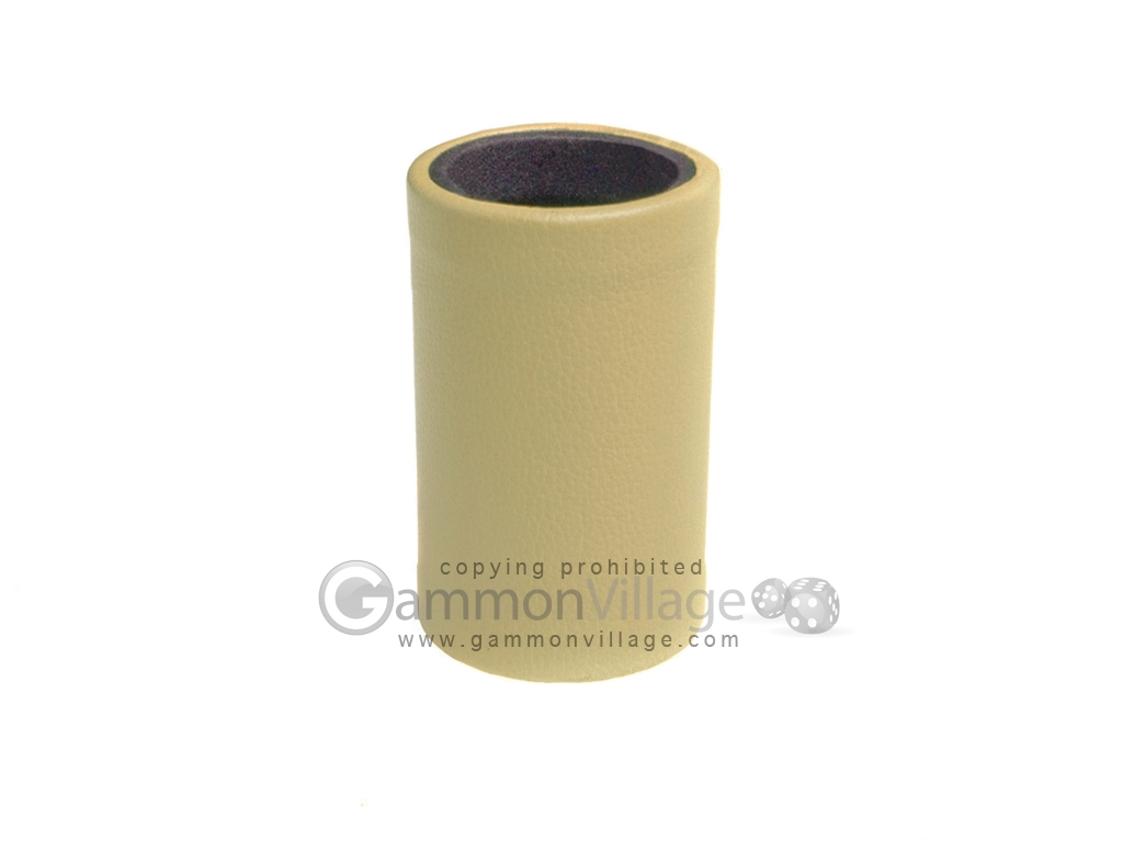 Tan Leatherette Backgammon Dice Cup - Black Interior with Trip Lip