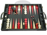 Zaza & Sacci Leather Backgammon Set - Model ZS-501 - Medium - Black - Item: 2167