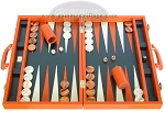 Zaza & Sacci Leather Backgammon Set - Model ZS-501 - Medium - Orange - Item: 2166