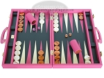 picture of Zaza & Sacci Leather Backgammon Set - Model ZS-501 - Medium - Pink (1 of 12)