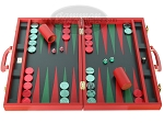 Zaza & Sacci Leather Backgammon Set - Model ZS-501 - Medium - Red - Item: 2168