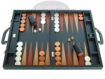 Zaza & Sacci Leather Backgammon Set - Model ZS-612 - Large - Black