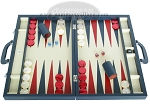 Zaza & Sacci Leather Backgammon Set - Model ZS-612 - Large - Blue