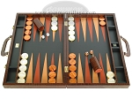 Zaza & Sacci Leather Backgammon Set - Model ZS-612 - Large - Brown Croco - Item: 2174