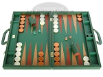 Zaza & Sacci Leather Backgammon Set - Model ZS-612 - Large - Green - Item: 2173
