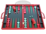 Zaza & Sacci Leather Backgammon Set - Model ZS-612 - Large - Red - Item: 2171