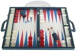 Zaza & Sacci Leather/Microfiber Backgammon Set - Model ZS-760 - Large - Blue - Item: 2179