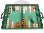 Zaza & Sacci Leather/Microfiber Backgammon Set - Model ZS-760 - Large - Green - Item: 2180
