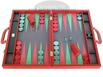 Zaza & Sacci Leather/Microfiber Backgammon Set - Model ZS-760 - Large - Red - Item: 2178