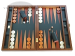 Zaza & Sacci Folding Wood Backgammon Set - Model ZS-008 - Large - Leather/Mahogany