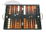 Zaza & Sacci Leather Backgammon Set - Model ZS-200 - Travel - Black - Item: 2152
