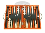 Zaza & Sacci Leather Backgammon Set - Model ZS-200 - Travel - Orange - Item: 2154
