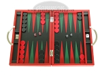 Zaza & Sacci Leather Backgammon Set - Model ZS-200 - Travel - Red - Item: 2155