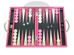 Zaza & Sacci® Leather Backgammon Set - Model ZS-200 - Travel - Pink - Item: 2153