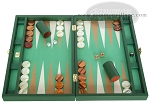 Zaza & Sacci Leather/Microfiber Backgammon Set - Model ZS-425 - Green - Item: 2162