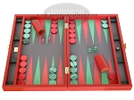 Zaza & Sacci Leather/Microfiber Backgammon Set - Model ZS-425 - Red