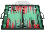 Zaza & Sacci Leather/Microfiber Backgammon Set - Model ZS-760 - Large - Black - Item: 2177