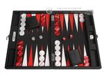Hector Saxe Epi Leatherette Travel Backgammon Set - Black