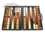 Marcello de Modena Leather Backgammon Set - Model MM-642 - Large - Brown - Item: 2229