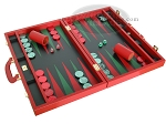 picture of Zaza & Sacci® Leather Backgammon Set - Model ZS-501 - Medium - Red (2 of 12)