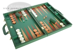 Zaza & Sacci® Leather Backgammon Set - Model ZS-612 - Large - Green