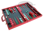 picture of Zaza & Sacci® Leather Backgammon Set - Model ZS-612 - Large - Red (2 of 12)