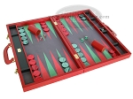 picture of Zaza & Sacci® Leather/Microfiber Backgammon Set - Model ZS-760 - Large - Red (2 of 12)