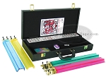 picture of American Mah Jong Set - White Tiles - Faux Alligator Case - Matte Black (2 of 8)