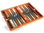 picture of Zaza & Sacci Leather Backgammon Set - Model ZS-200 - Travel - Orange (2 of 11)