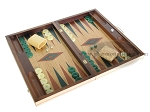picture of 19-inch Inlaid Oak Folding Wood Backgammon Set - Green (2 of 10)