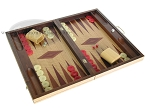 picture of 19-inch Inlaid Oak Folding Wood Backgammon Set - Red (2 of 10)