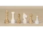 16 in. Coral and White Marble/Onyx Chess Set