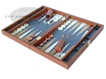 picture of Zaza & Sacci Leather/Microfiber Backgammon Set - Model ZS-425 - Brown (3 of 12)