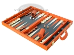 picture of Zaza & Sacci Leather Backgammon Set - Model ZS-501 - Medium - Orange (3 of 12)