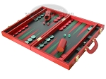 picture of Zaza & Sacci Leather Backgammon Set - Model ZS-501 - Medium - Red (3 of 12)