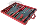 picture of Zaza & Sacci® Leather Backgammon Set - Model ZS-612 - Large - Red (3 of 12)