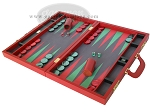 picture of Zaza & Sacci® Leather/Microfiber Backgammon Set - Model ZS-760 - Large - Red (3 of 12)