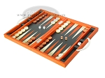 picture of Zaza & Sacci® Leather Backgammon Set - Model ZS-200 - Travel - Orange (3 of 11)