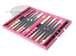 picture of Zaza & Sacci® Leather Backgammon Set - Model ZS-200 - Travel - Pink (3 of 12)