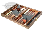 picture of Zaza & Sacci® Folding Wood Backgammon Set - Model ZS-004 - Medium - Leather/Mahogany (3 of 12)