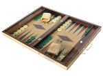 picture of 19-inch Inlaid Oak Folding Wood Backgammon Set - Green (3 of 10)
