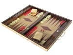 picture of 19-inch Inlaid Oak Folding Wood Backgammon Set - Red (3 of 10)