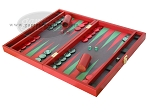 picture of Zaza & Sacci Leather/Microfiber Backgammon Set - Model ZS-425 - Red (3 of 12)