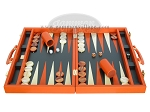 picture of Zaza & Sacci Leather Backgammon Set - Model ZS-501 - Medium - Orange (4 of 12)