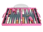 picture of Zaza & Sacci Leather Backgammon Set - Model ZS-501 - Medium - Pink (4 of 12)