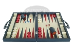 picture of Zaza & Sacci Leather Backgammon Set - Model ZS-612 - Large - Blue (4 of 12)