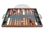 Zaza & Sacci® Leather Backgammon Set - Model ZS-612 - Large - Brown Croco
