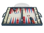 picture of Zaza & Sacci Leather/Microfiber Backgammon Set - Model ZS-760 - Large - Blue (4 of 12)