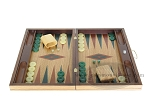 picture of 19-inch Inlaid Oak Folding Wood Backgammon Set - Green (4 of 10)