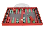 picture of Zaza & Sacci Leather/Microfiber Backgammon Set - Model ZS-425 - Red (4 of 12)